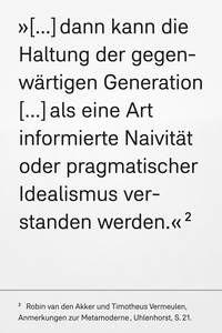"""Robin van den Akker und Timotheus Vermeulen - """"Anmerkungen zur Metamoderne"""", Textem-Verlag, Edition Uhlenhorst, Hamburg 2015, 64 Seiten, 150 x 100 mm, broschiert, € 8,00, ISBN 978-3-86485-091-2"""