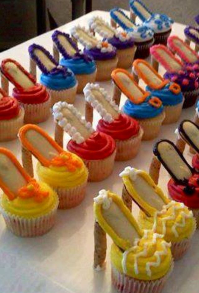 Pepperidge Farm; take Milano cookies, with frosting attach a rolled wafer to bottom as heel, then stick Milano end into a fancy frosted cupcakes for Fancy High Heel dessert!