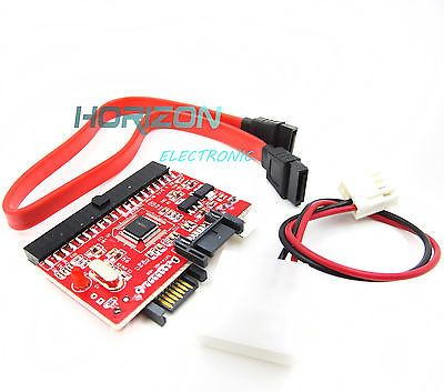 IDE to SATA ATA 100/133 Serial HDD CD DVD Converter Adapter+Power & Cable