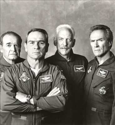 SPACE COWBOYS - Veteran U.S. astronauts are portrayed by James Garner, Tommy Lee Jones, Donald Sutherland & Clint Eastwood - Directed by Clint Eastwood - Warner Bros. - Publicity Still.