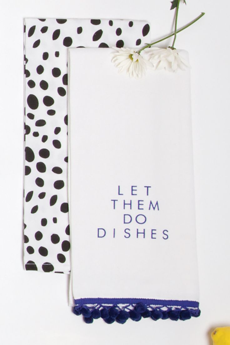 "2 Pack ""Let Them Do Dishes"" Hand Towels  1 Black Dalmation Dot, 1 Blue Fringed Pom  21.5X31  100% Cotton"