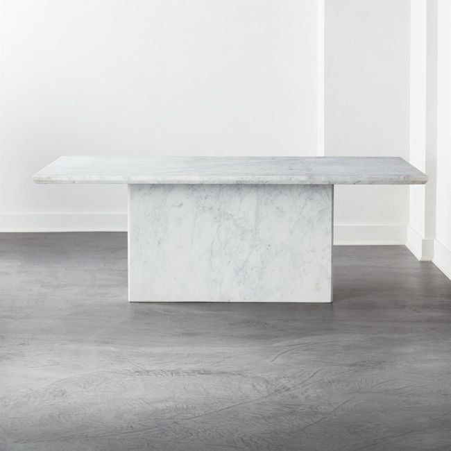 Stone Cold Beauty A Slab Of Thick White Marble Tops A Rectangular White Marble Base For A Head Turning In 2020 Dining Table Marble Stone Dining Table Marble Dining