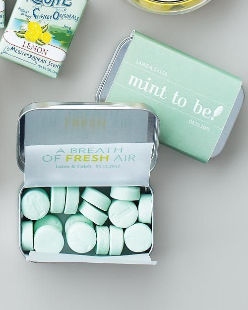 courtesy of afirstclasswedding.com: Ideas, Wedding Favors, Dreams, Color, Mint Tins, Parties Favors, Wedding Mint, Mint Weddings, Mint To Be