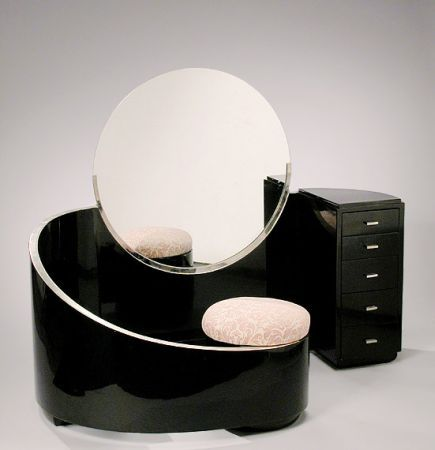 Black Lacquered And Silver Leaf Vanity Table Designed By Paul Poiret,  Manufactured By Contempora,
