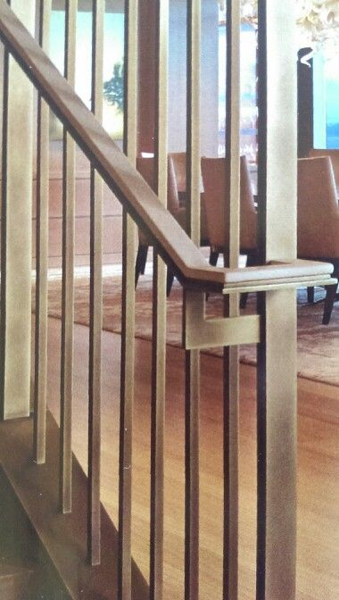 Brass Tube And Flat Bar Stair Screen And Handrail With Light Patina And White Leather Top Cap