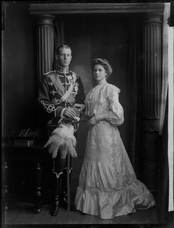 Princess Alice of Greece and Denmark; Prince Andrew of Greece  by Henry Walter ('H. Walter') Barnett  whole-plate glass negative, 1903