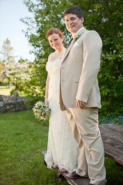 Sara and Joe's lovely outdoor Michigan wedding was featured on the knot! We love that Bride & Groom are both wearing sandals!