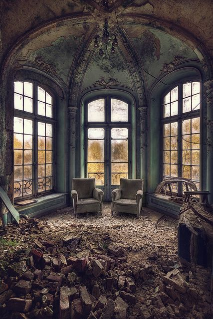 The oldest residents of that abandoned house were the spiders. Many generations had laced the walls with cobwebs of intricate beauty...