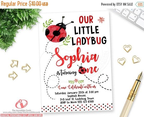 50% OFF SALE Ladybug, Lady bug Invite, Ladybug Birthday Invitation, Ladybug Party, 1st Birthday invitation, Red & black Polka dot, Watercolo