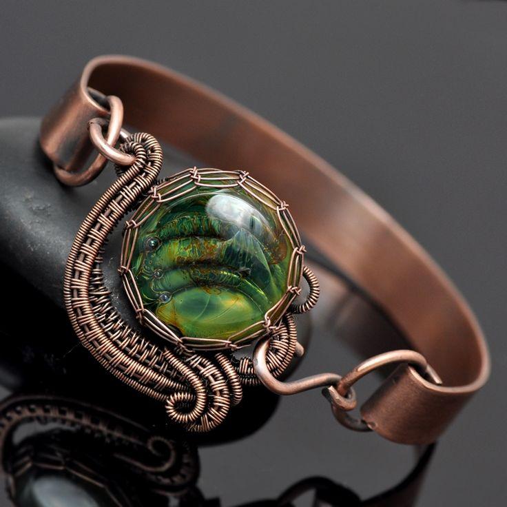 wire wrap bracelet,bracelet,cuff,copper cuff,artisan glass,glaze ranch jewelry,nicole hanna jewelry,wire weave,wire work,copper jewelry,one of a kind jewelry
