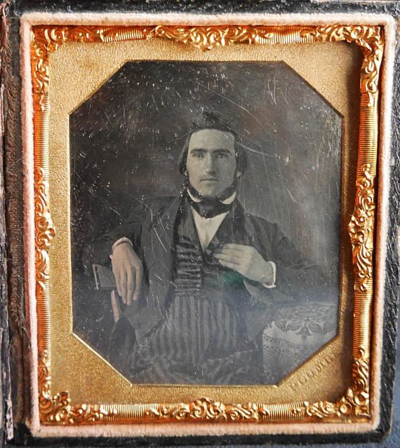Daguerreotype of Seated Man Facing Front with Chin Beard