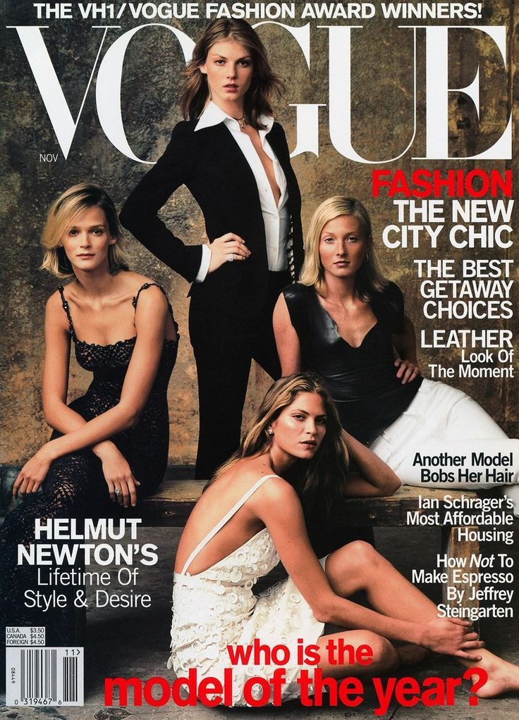 """November 2000 - """"Fashion needs its homegrown celebrities; what would our history be without Twiggy or Linda Evangelista?,"""" noted Vogue's Anna Wintour. Each of these cover girls was a nominee for the VH1/Vogue Fashion Awards Model of the Year.Clockwise from left: (winner) Carmen Kass, Angela Lindvall, Maggie Rizer, Frankie Rayder"""