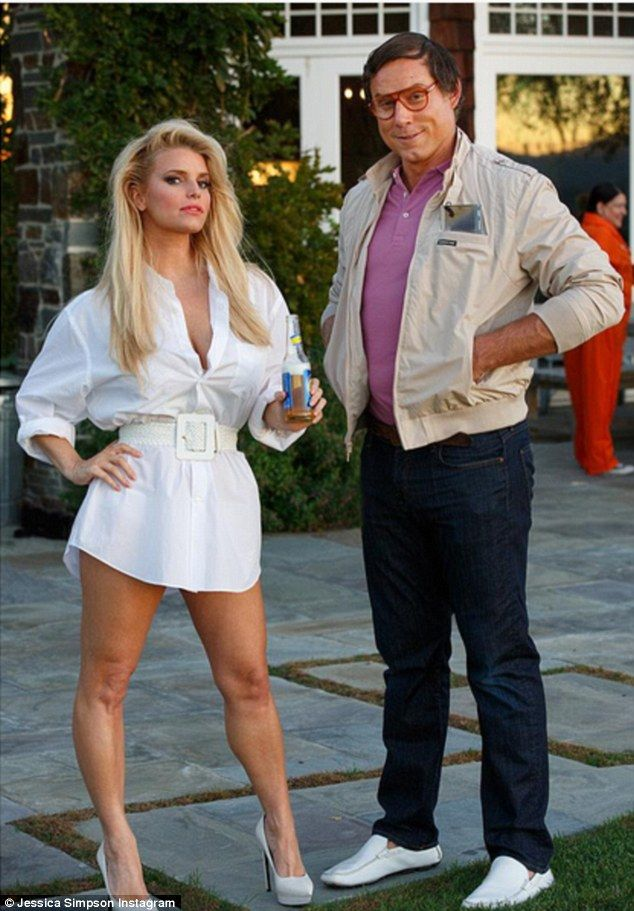 Couples costume: Jessica Simpson and husband Eric Johnson dressed as Christie Brinkley and Chevy Chase's characters from National Lampoon's Vacation for Halloween