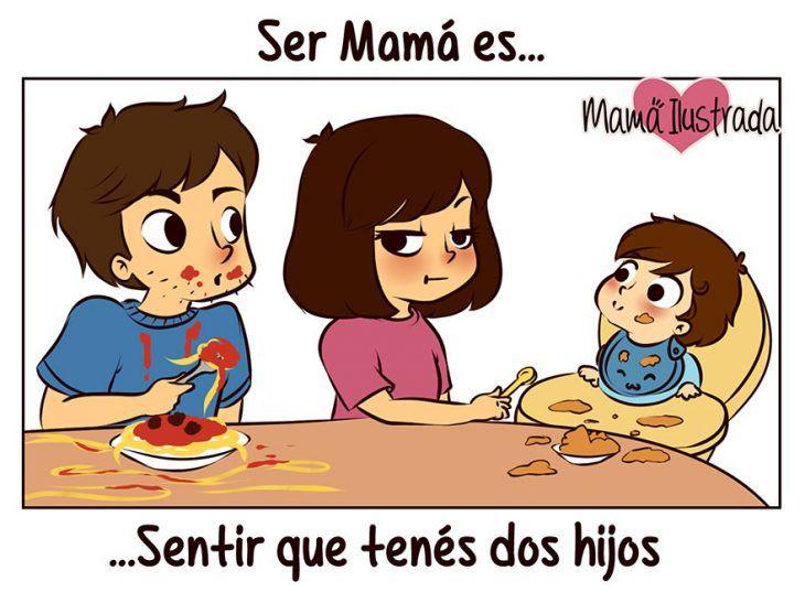 Ilustración mamá con dos hijos
