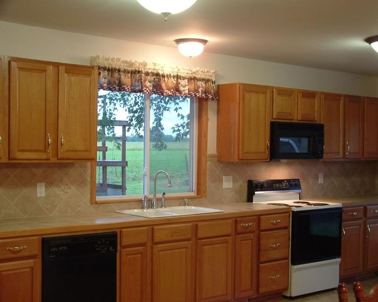 Kitchen Backsplash Oak Cabinets Google Search