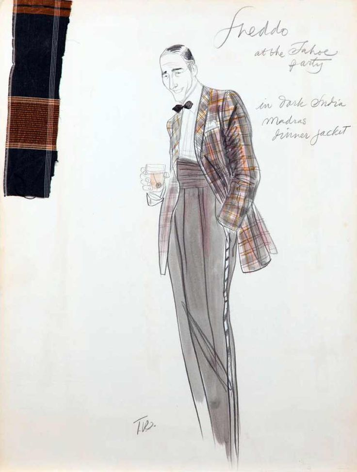 Theadora Van Runkle costume sketch for John Cazale as 'Fredo Corleone' in The Godfather: Part II (1974)