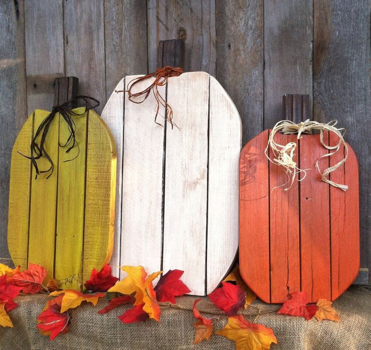 Reclaimed Wood Pumpkins Rustic Fall Autumn Decor Thanksgiving Halloween (Set of 3 OR Any Size Separately) by LowerArkCrafts on Etsy