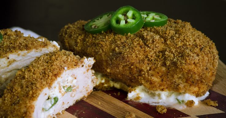 Jalapeño Popper Chicken.  Use almond flour. Tastes amazing toasted. I can see doing. Strips or nuggets this way!