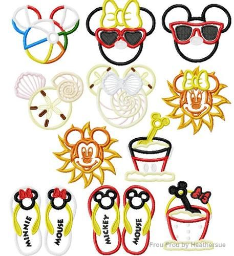 Mister and Miss Mouse Head Beach ELEVEN Design SET Machine Applique Embroidery Design, multiple sizes, including 4 inch, $30.00