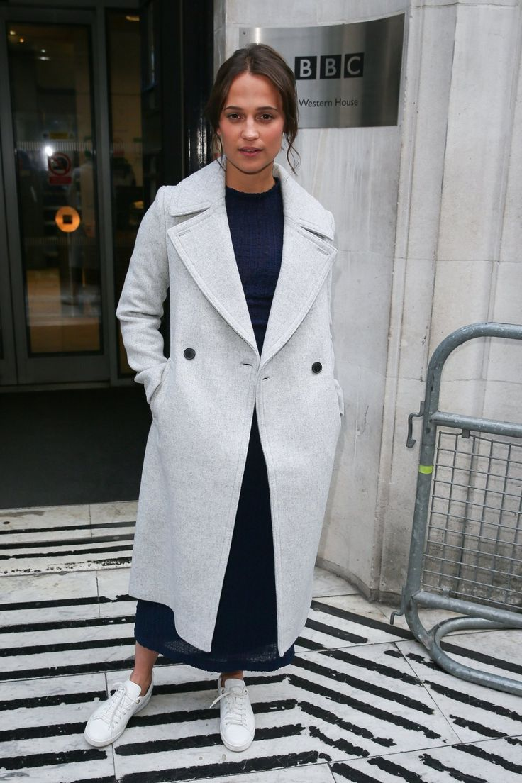 Alicia Vikander in Victoria Beckham and Club Monaco's Daylina coat.