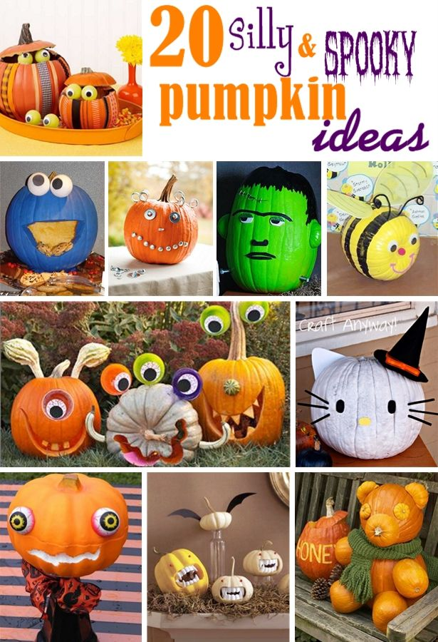 2o Silly & Spooky Non-Scary Pumpkin Decorating Ideas | Party Ideas & Trends {by Party Bloggers} | Pinterest | Halloween, Pumpkin decorating and Halloween pumpk…
