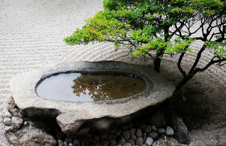Stone basin, Ritsurin Park, Takamatsu, Japan