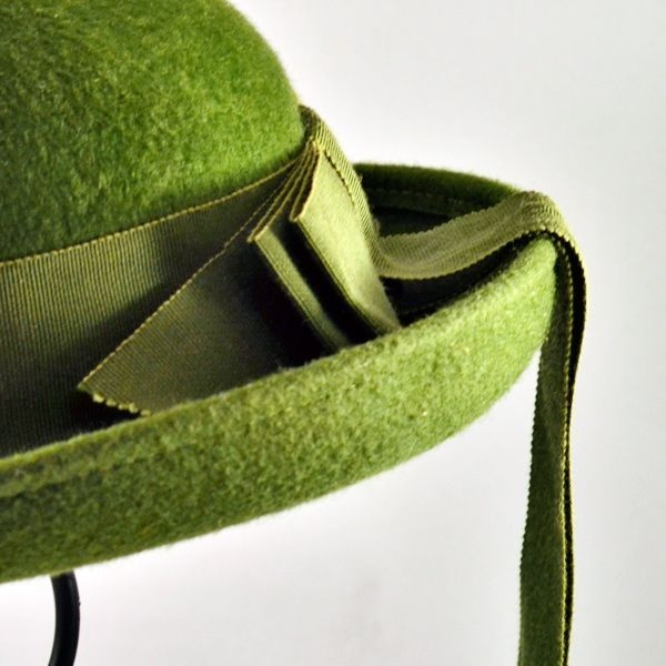 School Girl Green Hat with Ribbon - Vintage