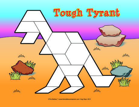 Reinforce visual spatial skills with dinosaurs and pattern blocks! Print the…
