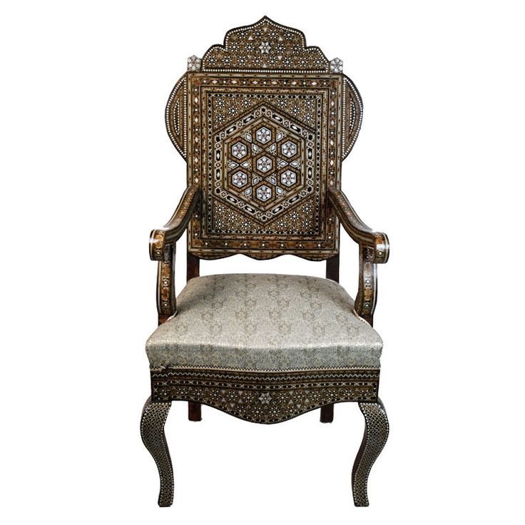 60s Syrian Mother-of-Pearl Inlaid Armchair
