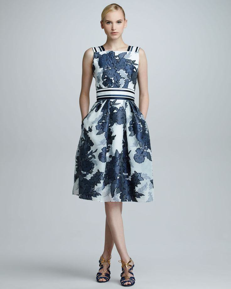 Carolina Herrera Floral Jacquard Organza Dress Blue