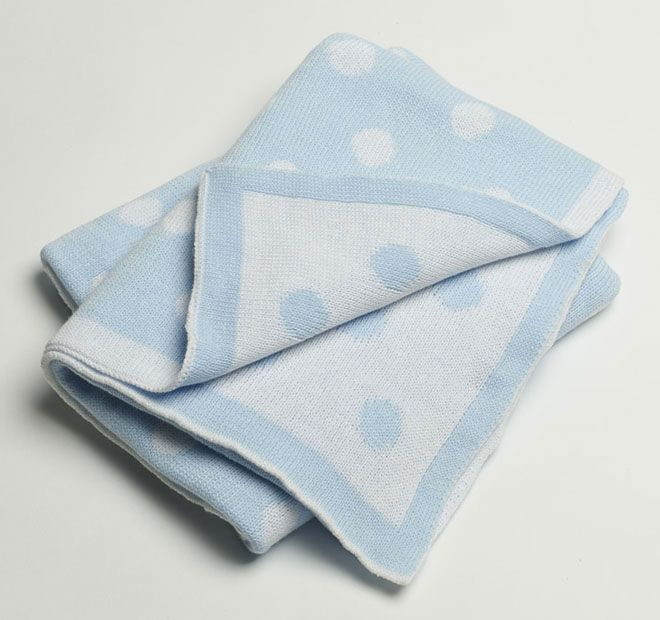 Jiggle and Giggle Spot Cotton 70x90cm Blanket Blue