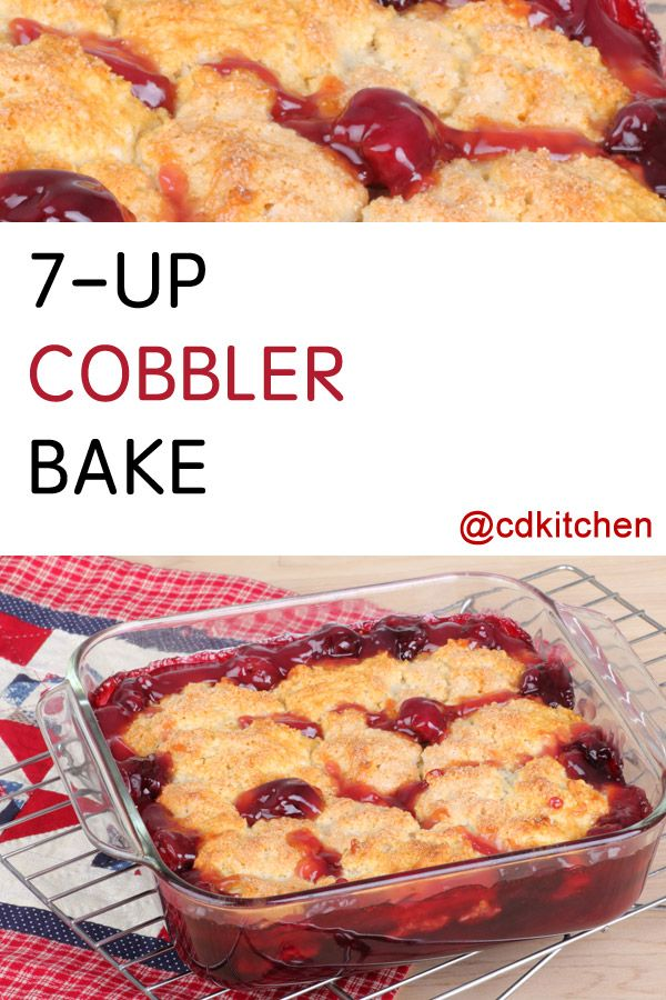 A delicious dessert with only three ingredients. Cherry pie filling is topped with dry yellow cake mix and 7-up soda is poured over the top then baked until done. | CDKitchen.com