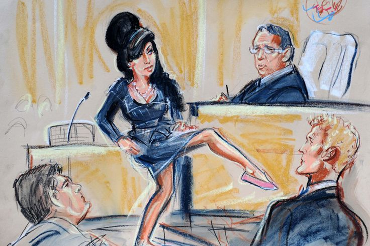 This court sketch captures a significant moment where Amy Winehouse shows the judge how small she looked in flat shoes after her assault trial was over. This sketch captures information about what went on in the court room and the facial expressions made by the people present.