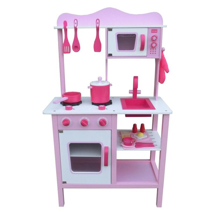 Berry Toys My Cute Pink Wooden Play Kitchen   W10C045
