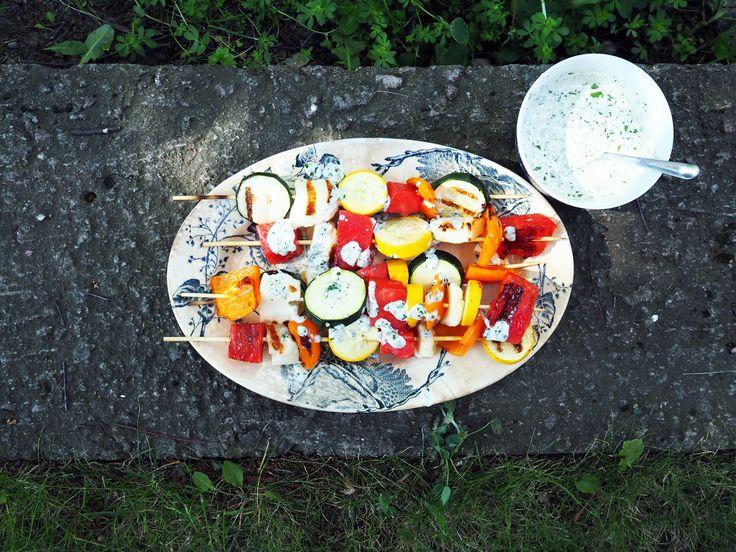 Grillspyd med vannmelon og halloumi