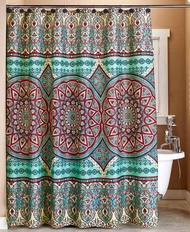 Modern Medallion Shower Curtain Lightweight Polyester Fabric