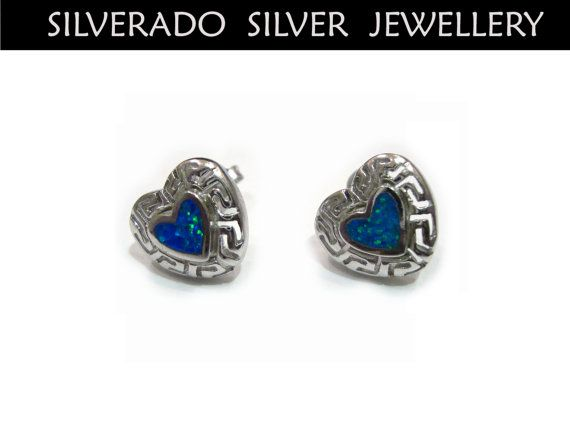 Greek Eternity Key Heart Shape Manmade Opal by SilveradoJewellery, €36.00