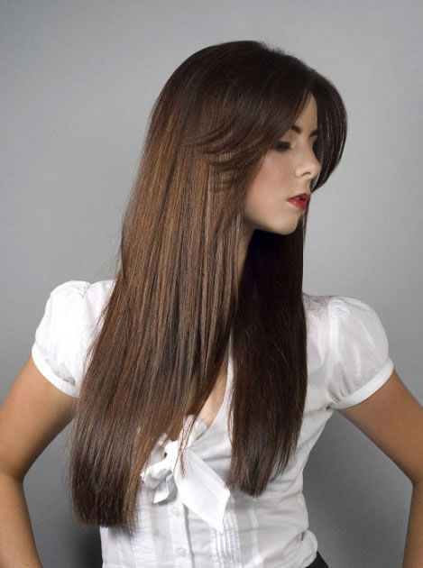 long hairstyle swept bangs