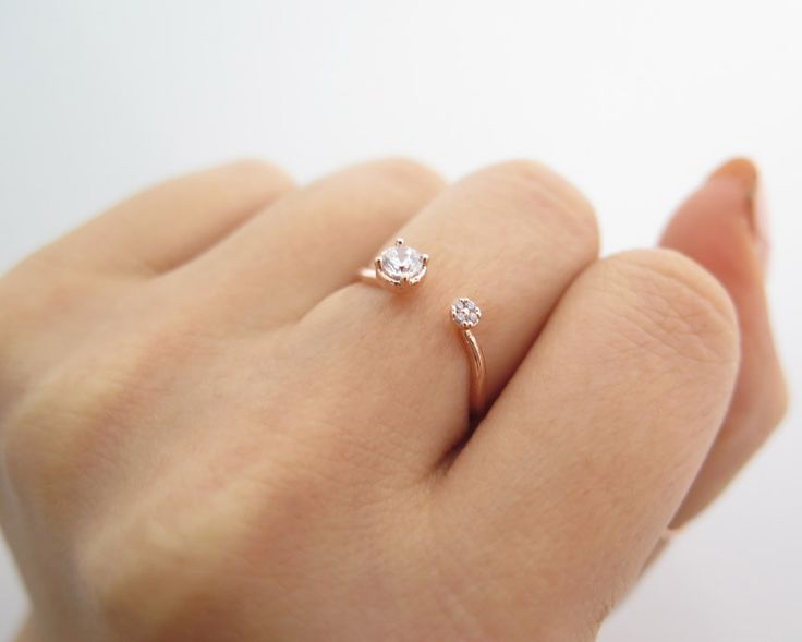 Delicate Sterlig silver Adjustable CZ Ring/Round cz open ring/Dainty CZ ring/Dual Silver Ring/925 simple silver ring/Rose gold Ring/ThinRing by thinlight on Etsy