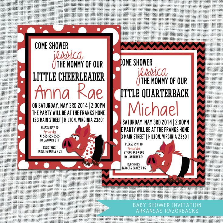 Arkansas Razorbacks Baby Shower Invitation / by afranksdesigns, $17.00