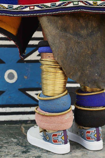 Artist Esther Mahlangu wearing her #Eytys Doja Mahlangu Cloud. Photography by Travys Owen.