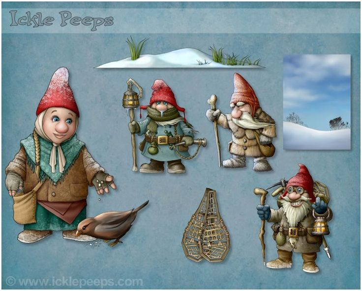A set of of 4 Frost Gnomes,  2 props and 1 scenery in PNG format