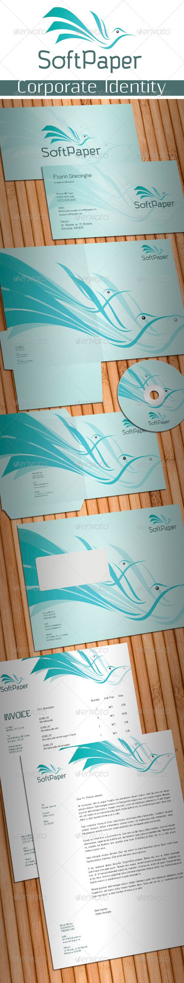 Soft Paper Stationery  #GraphicRiver         Simple, clean and modern Paper related business stationery package.   Simple to work with and highly customizable, it ca be easely adjusted to fit your needs.   All layeres are well named and organized.   High quality fully layered and fully editable PSD templates. Print Ready, CMYK , 300 dpi with bleed and guidelines.   Pakage includes:   1. Business Card 2. Poket Folder 3. CD Covers and CD Label 4. C5 Envelope 5. Letterhead 6. Invoice  …