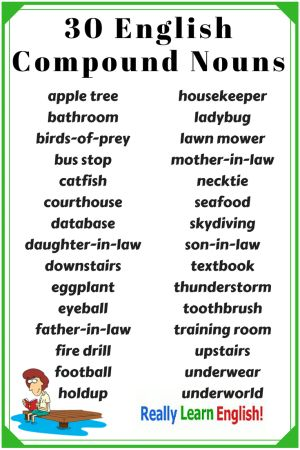 Compound Nouns in English: In English, words can be combined to form compound nouns. A compound noun is a noun made of two or more words. Each compound noun works as a single noun. There are many compound nouns in English, so it is important that you learn and understand them. In this lesson you will learn about different types and forms of compound nouns, and how to make them plural. (ESL, ELL, Teaching English, lesson plans)