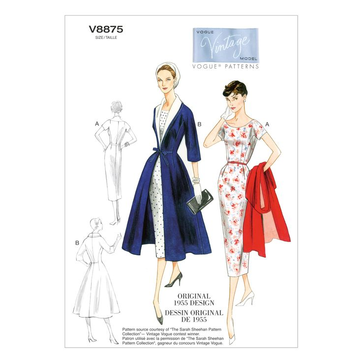 Mccall Pattern V8875 8-16- 1955 dress and coat pattern