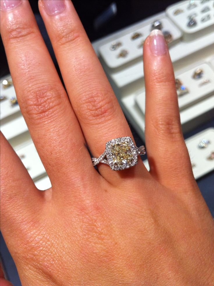 Soft Canary Yellow Princess Or Cushion Cut Diamond With A