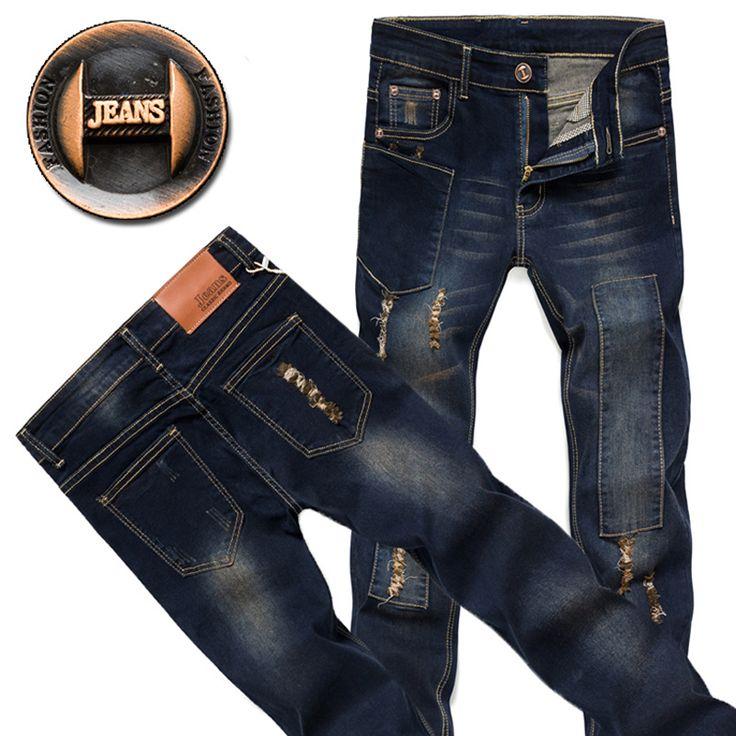 2016 мужская мода классические синие джинсы дизайнерские джинсы мужчины высокое качество брюки рваные джинсы узкие молодой человек связанными ногами