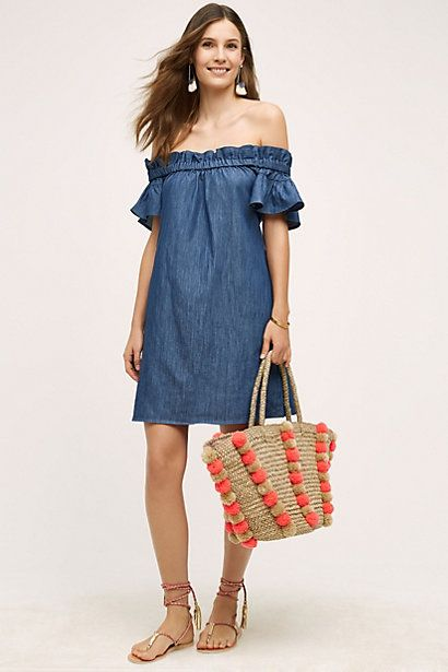 Denim Off-The-Shoulder Dress #anthropologie