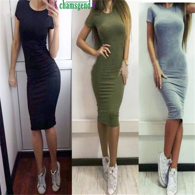 Summer Dress CHAMSGEND WillBeen  Women Fashion Sexy Solid Short Sleeve Slim Dress Fashion Jan25 Drop Shipping