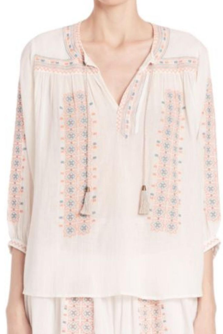 Joie Sunflower Tunic Top in Porcelain With Pale Sunflower Tunic Top by Joie. Clothing - Tops - Long Sleeve Las Vegas